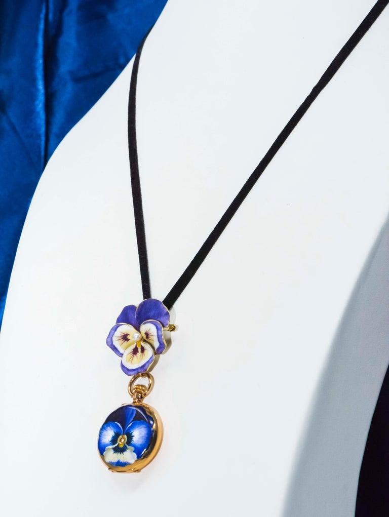 Late 19th Century Art Nouveau Diamond Enamel Pansy Brooch Pin Pendant Necklace For Sale 10