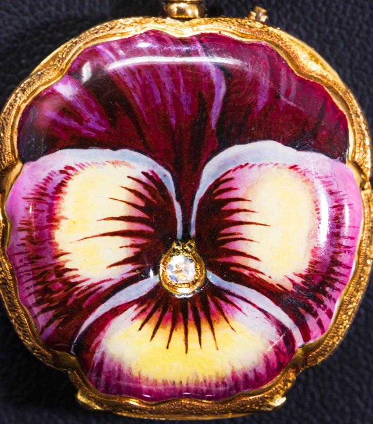 Women's or Men's Late 19th Century Art Nouveau Diamond Enamel Pansy Brooch Pin Pendant Necklace For Sale