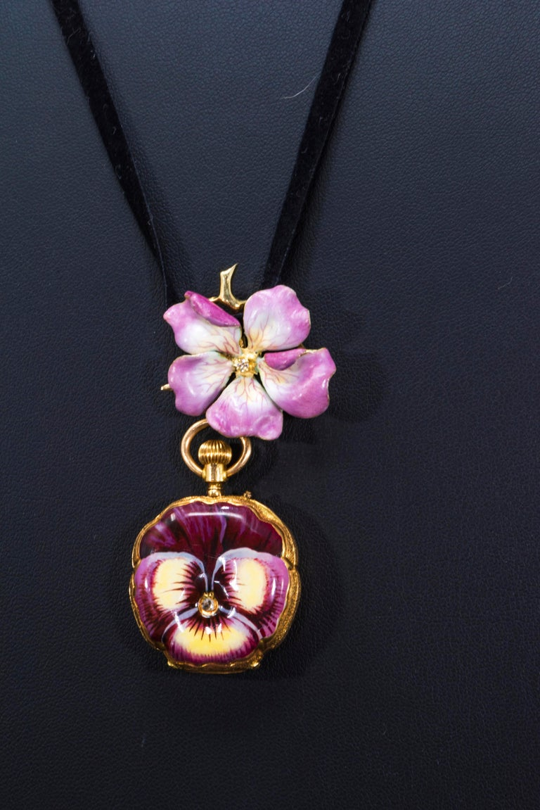 Rose Cut Late 19th Century Art Nouveau Diamond Enamel Pansy Brooch Pin Pendant Necklace For Sale