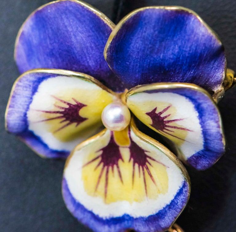 Late 19th Century Art Nouveau Diamond Enamel Pansy Brooch Pin Pendant Necklace For Sale 1