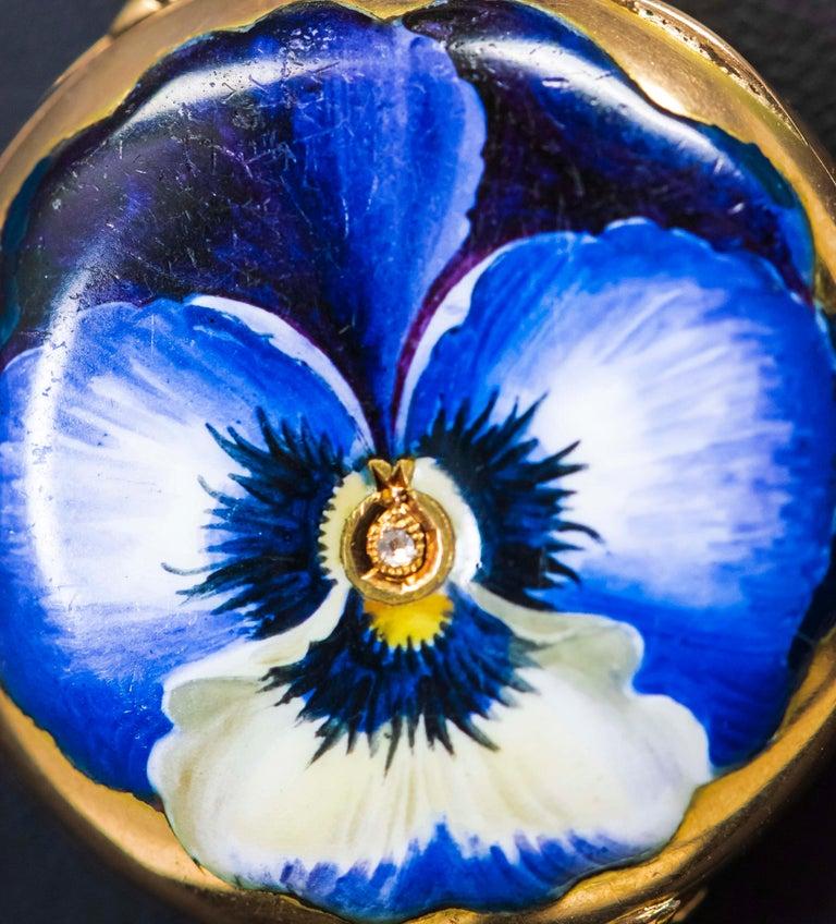 Late 19th Century Art Nouveau Diamond Enamel Pansy Brooch Pin Pendant Necklace For Sale 2