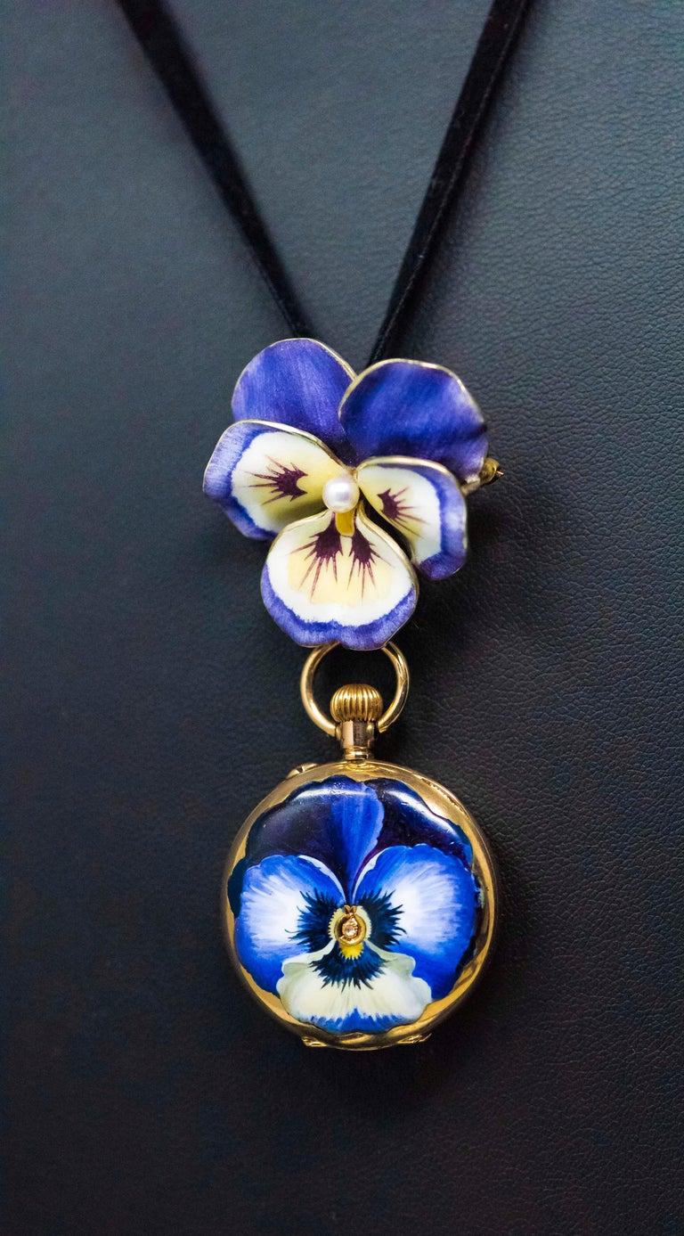 Late 19th Century Art Nouveau Diamond Enamel Pansy Brooch Pin Pendant Necklace For Sale 3