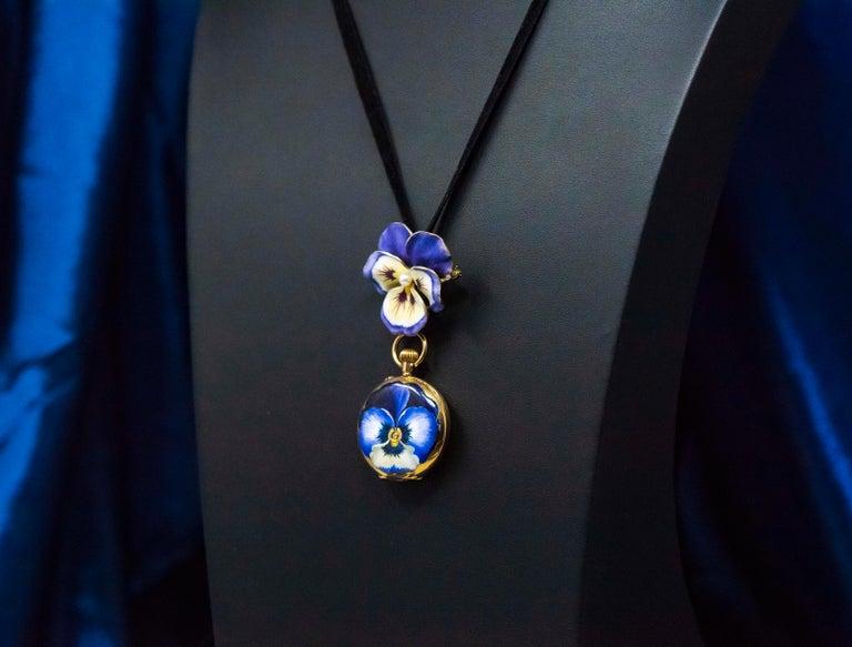 Late 19th Century Art Nouveau Diamond Enamel Pansy Brooch Pin Pendant Necklace For Sale 4