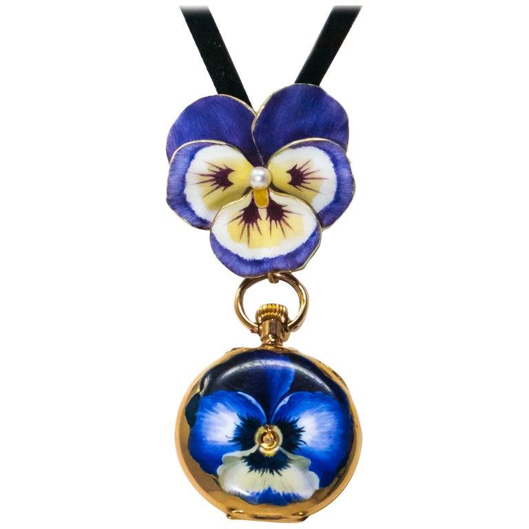 Late 19th Century Art Nouveau Diamond Enamel Pansy Brooch Pin Pendant Necklace For Sale