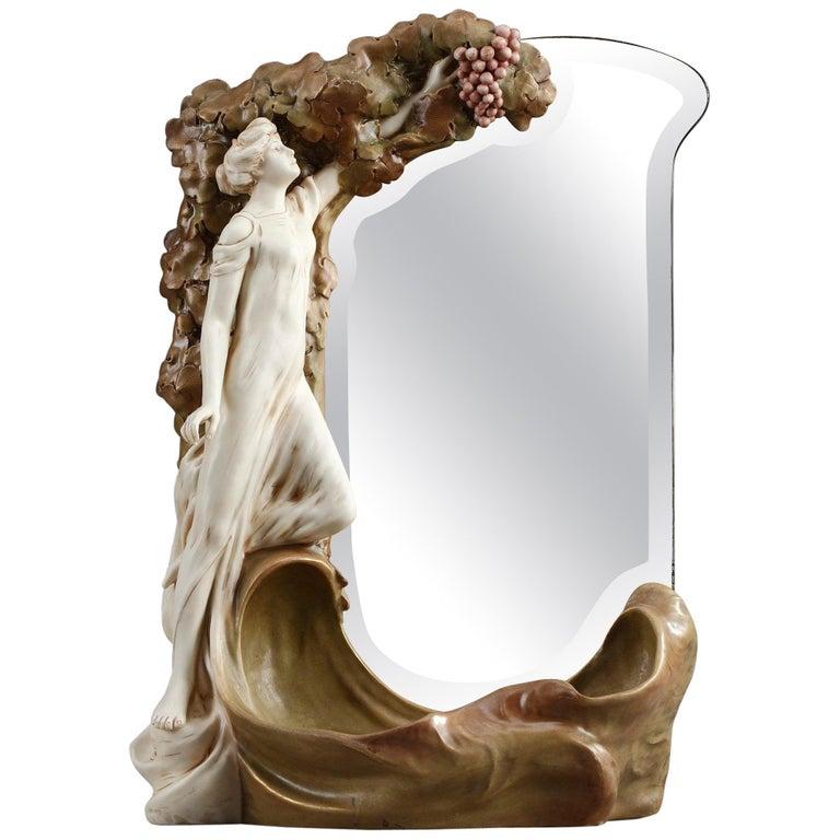 Late 19th Century Art Nouveau Mirror by Royal Dux Bohemia For Sale