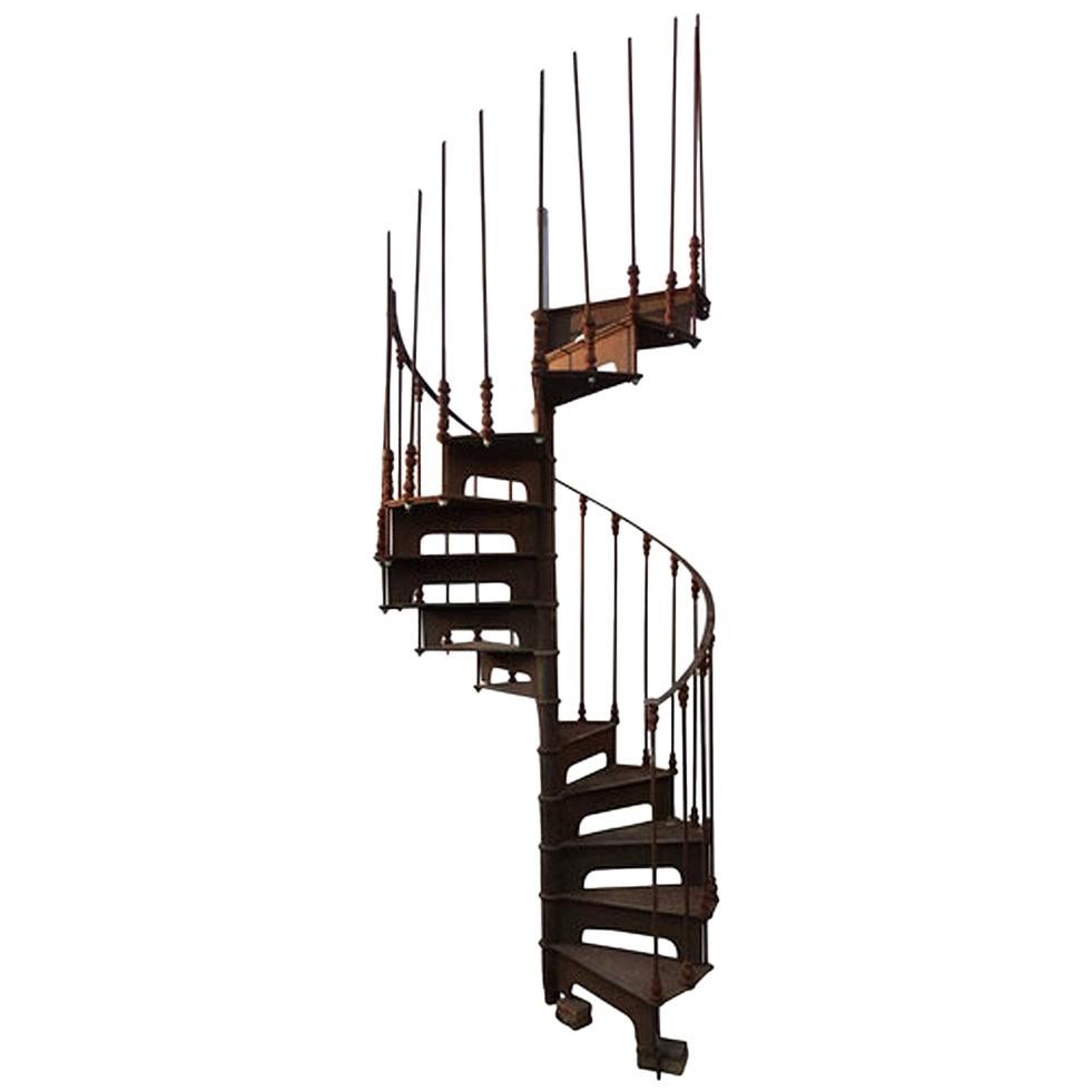 Late 19th Century Art Nouveau Style Cast Iron Spiral Staircase From Spain