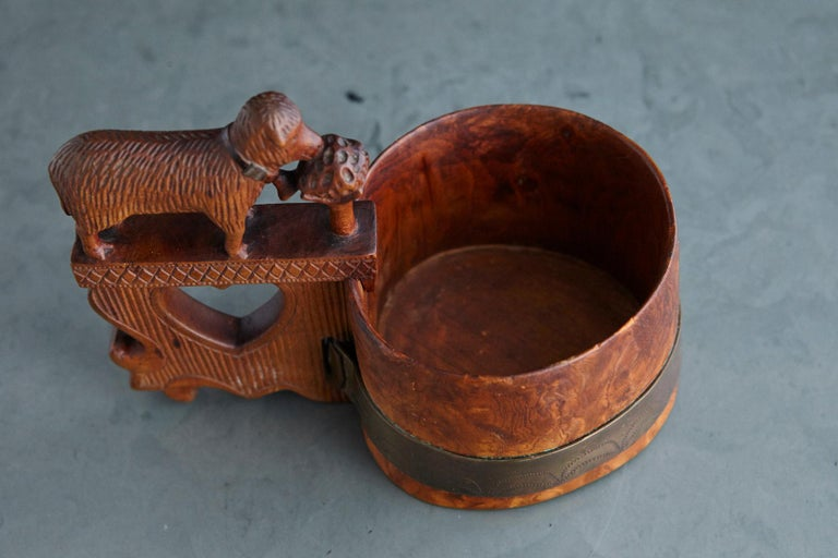 Late 19th Century Austrian Hand Carved Wooden Mug with Brass Band For Sale 6
