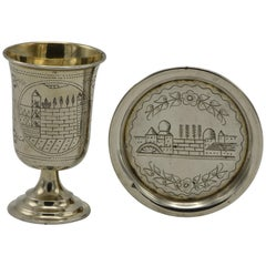 Late 19th Century Austrian Silver Kiddush Goblet with Saucer