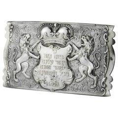 Late 19th Century Austro-Hungarian Silver Yom Kippur Belt Buckle