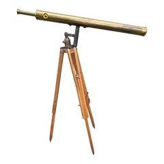 Late 19th Century Bardou & Son Paris Brass Telescope with GB Trademark on Tripod