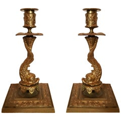 Late 19th Century Baroque Bronze Candlestick Pair with Dolphin Base