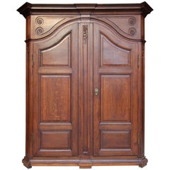 Late 19th Century Belgian Oak Wardrobe or Cabinet