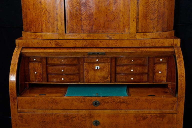 Late 19th Century Biedermeier Cylinder Top Secretaire with Pullout Desk For Sale 4