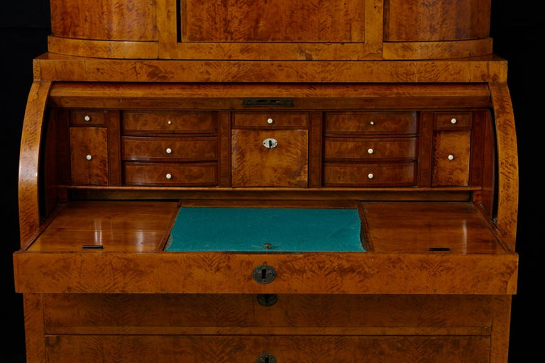 Late 19th Century Biedermeier Cylinder Top Secretaire with Pullout Desk For Sale 6