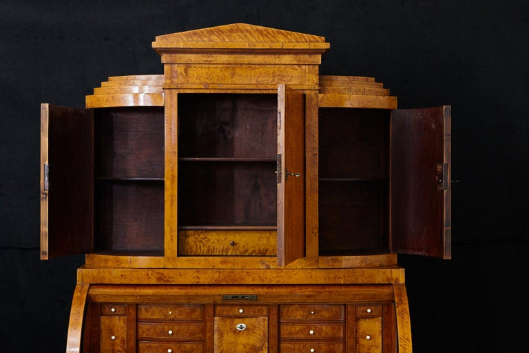 Late 19th Century Biedermeier Cylinder Top Secretaire with Pullout Desk For Sale 10