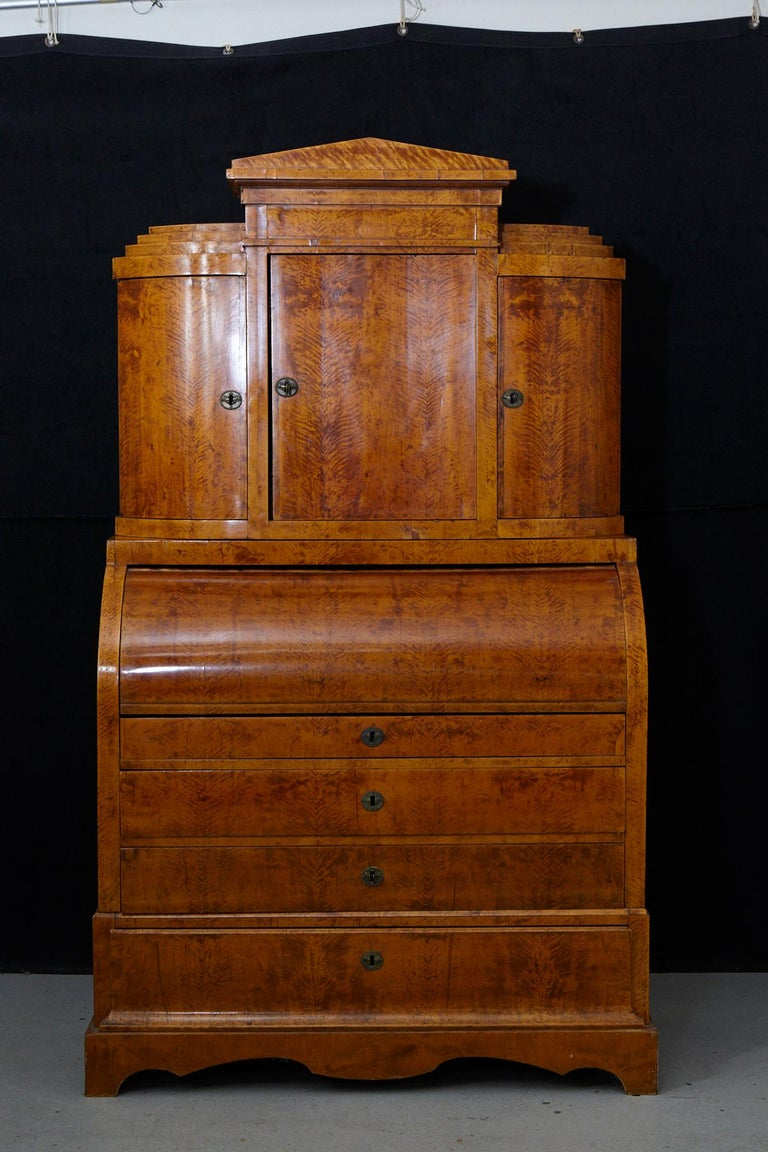 Veneer Late 19th Century Biedermeier Cylinder Top Secretaire with Pullout Desk For Sale