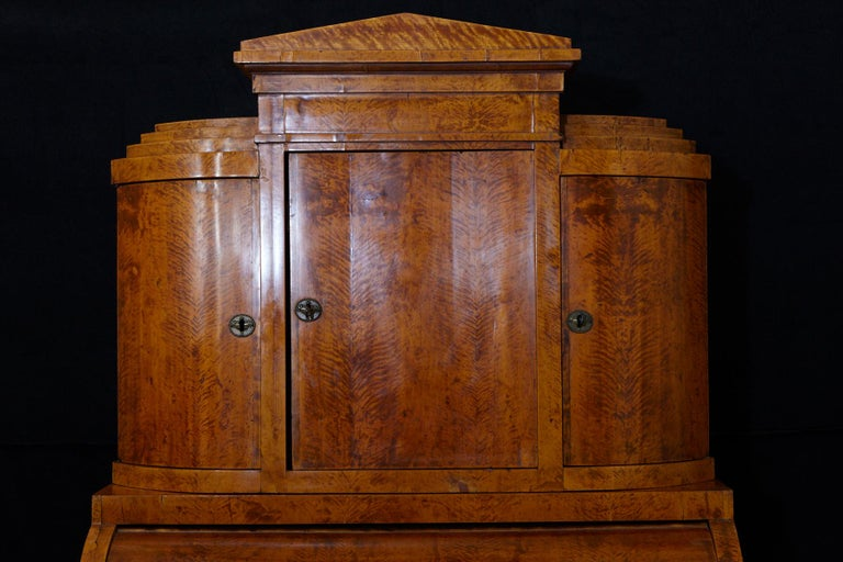 Walnut Late 19th Century Biedermeier Cylinder Top Secretaire with Pullout Desk For Sale