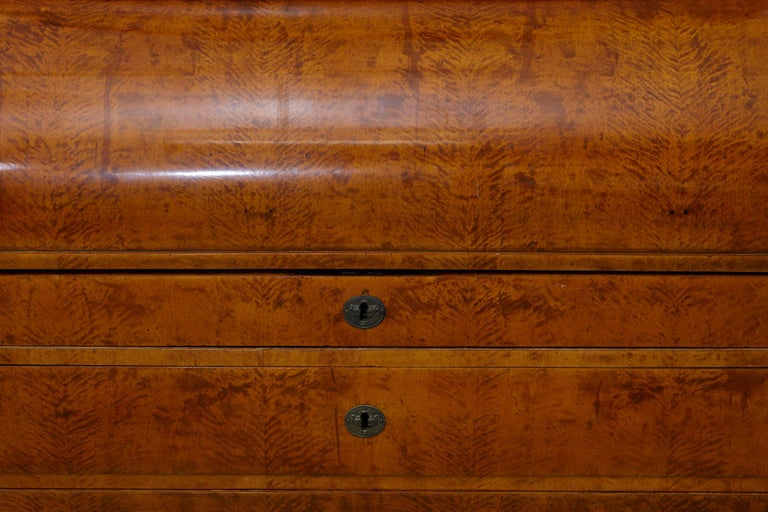 Late 19th Century Biedermeier Cylinder Top Secretaire with Pullout Desk For Sale 1