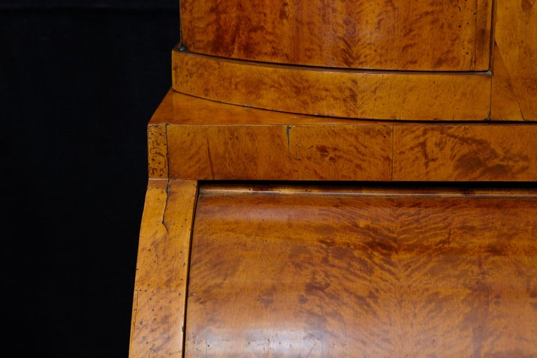 Late 19th Century Biedermeier Cylinder Top Secretaire with Pullout Desk For Sale 2