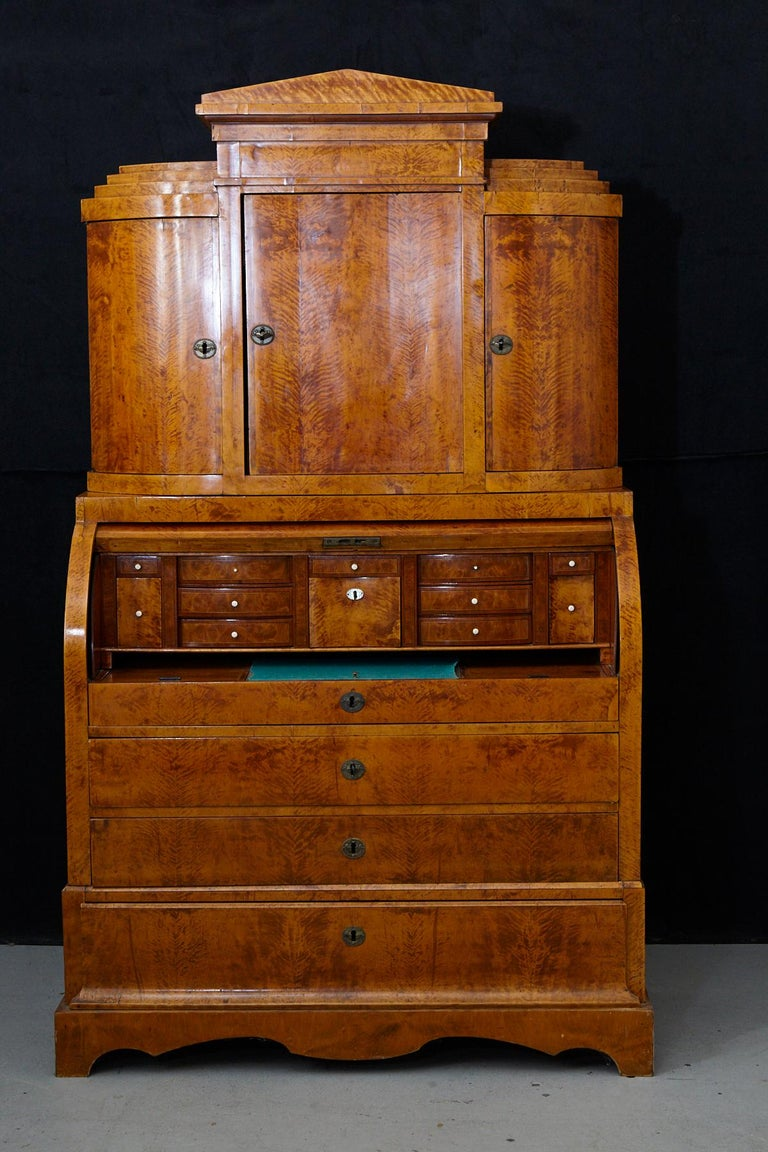 Late 19th Century Biedermeier Cylinder Top Secretaire with Pullout Desk For Sale 3