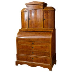 Late 19th Century Biedermeier Cylinder Top Secretaire with Pullout Desk