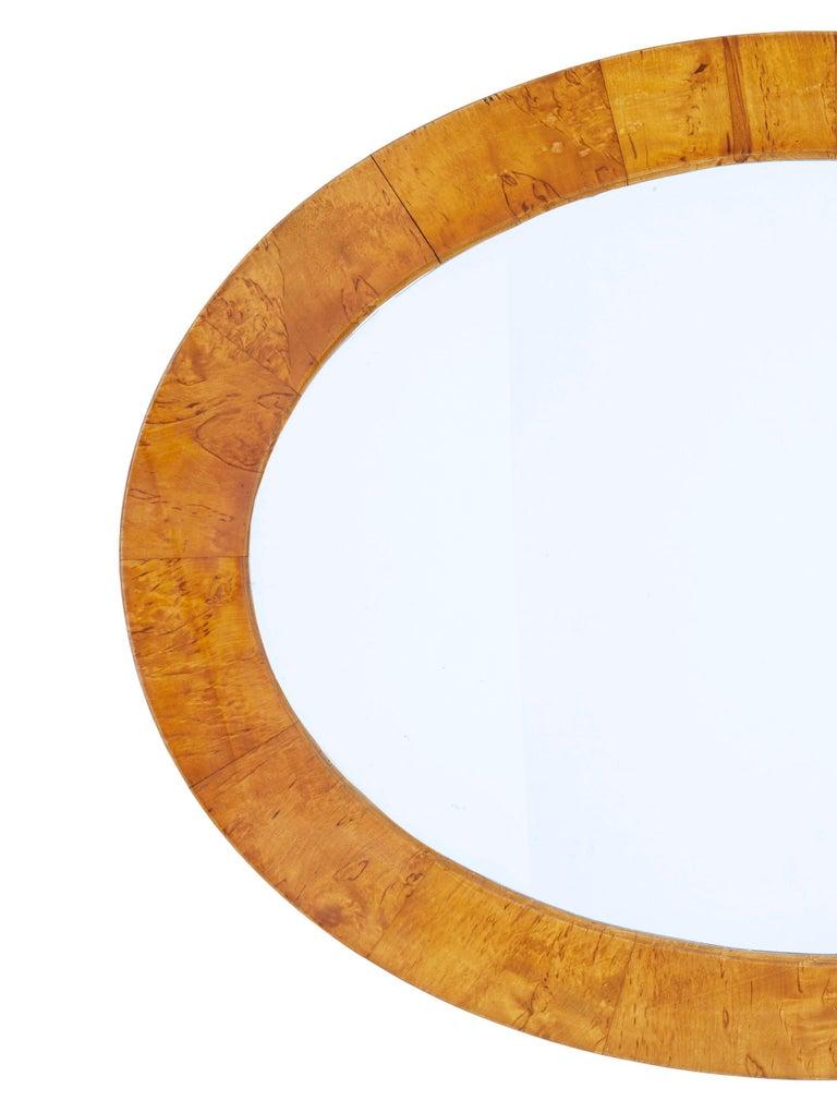 European Late 19th Century Birch Oval Mirror For Sale