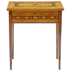 Late 19th Century Birch Root Inlaid Sewing Side Table