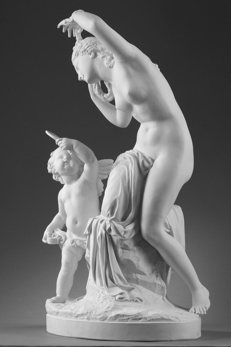 Neoclassical Revival Late 19th Century Bisque Group Cupid and Psyche For Sale