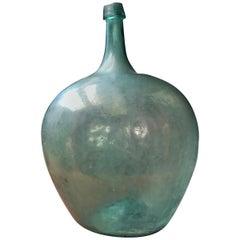 Late 19th Century Blown Glass Light Blue Demijohn Bottle Found in México
