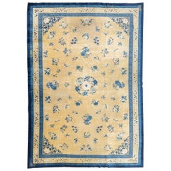 Late 19th Century Blue over Gold Background Wool Chinese Rug, circa 1890