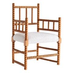 Late 19th Century Bobbin Chair in Beech and Ivory Dedar Bouclé Fabric