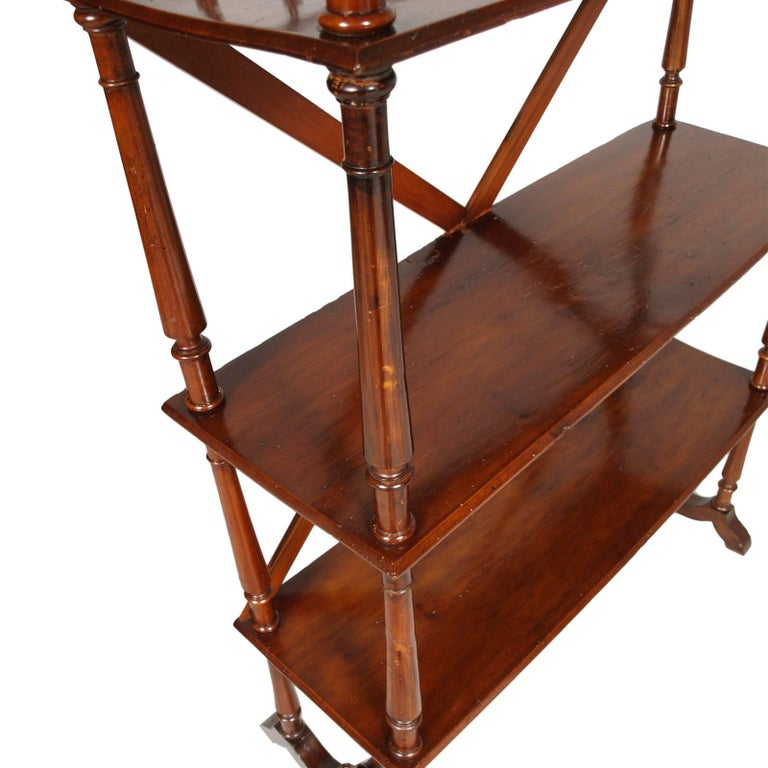 Art Nouveau Late 19th Century Bookcase Étagère by Fratelli Mora Milano in Walnut Wax-Polish For Sale