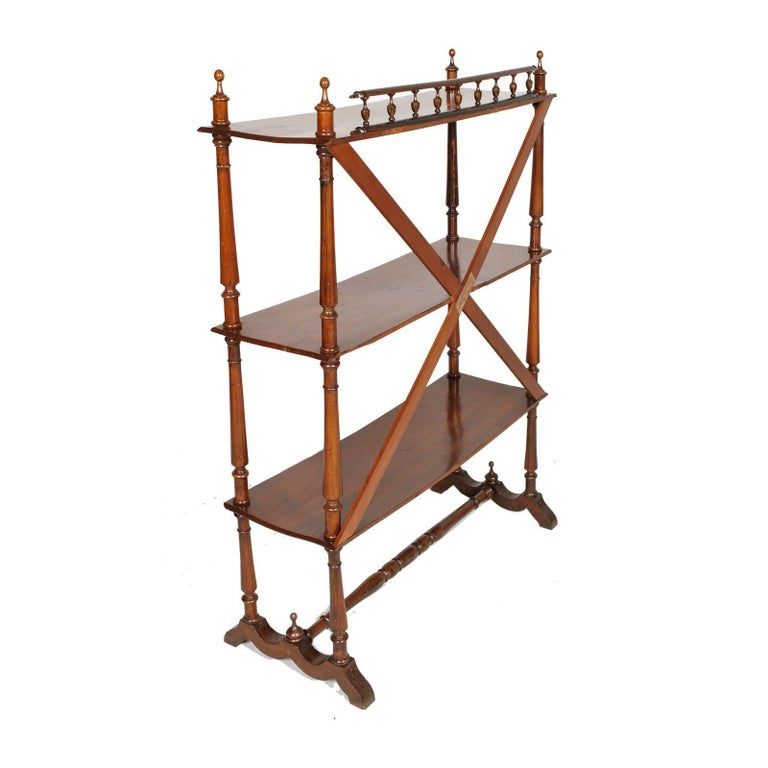 Late 19th Century Bookcase Étagère by Fratelli Mora Milano in Walnut Wax-Polish In Excellent Condition For Sale In Vigonza, Padua