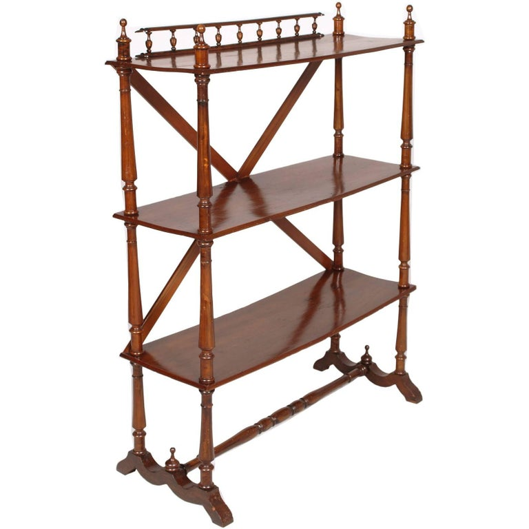 Late 19th Century Bookcase Étagère by Fratelli Mora Milano in Walnut Wax-Polish For Sale