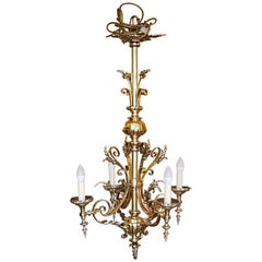 Late 19th Century Brass Four-Arm Chandelier