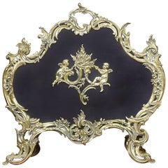 Late 19th Century Brass Rococo Fire Screen