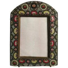 Late 19th Century Brass Venetian Multicolors Murrine Victorian Style Photo Frame
