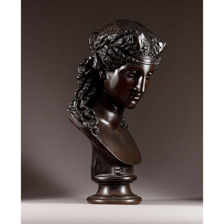 A French patinated bronze bust of Ariadne by F. Barbedienne foundry after the antique.  The fine 'reduction a colis' is after a model by Bertel Thorvaldsen (circa 1805-1810). This sole bust is often paired with a famous antique bust of Antinous