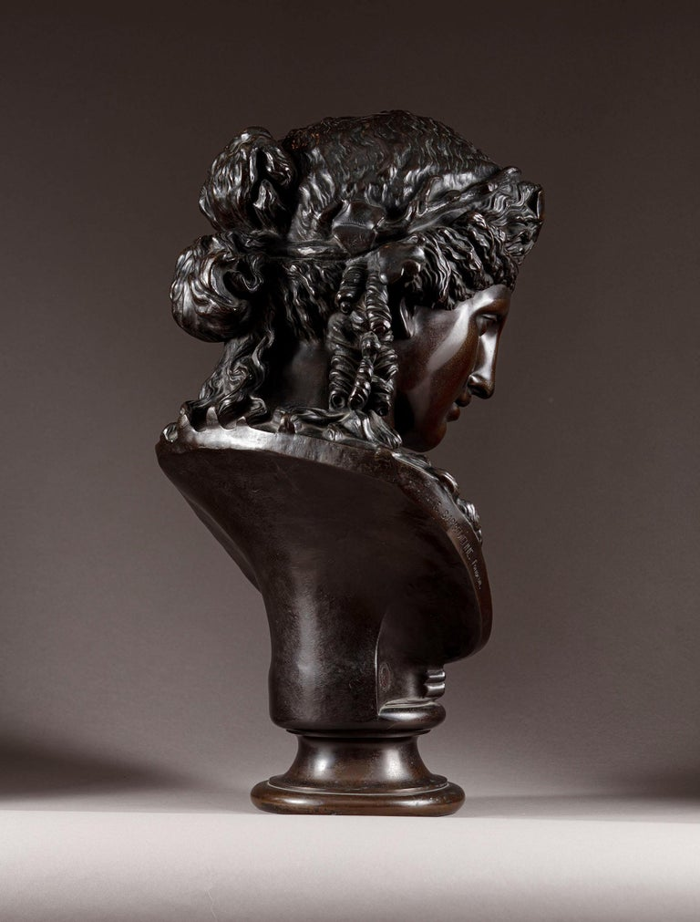 Classical Roman Late 19th Century Bronze Bust of Ariadne F Barbedienne For Sale