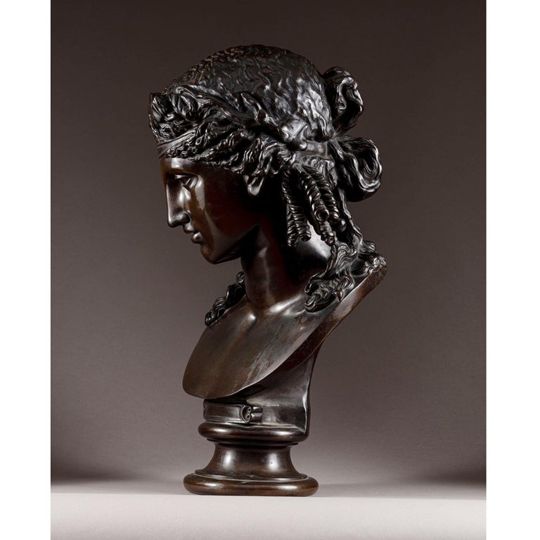 Cast Late 19th Century Bronze Bust of Ariadne F Barbedienne For Sale