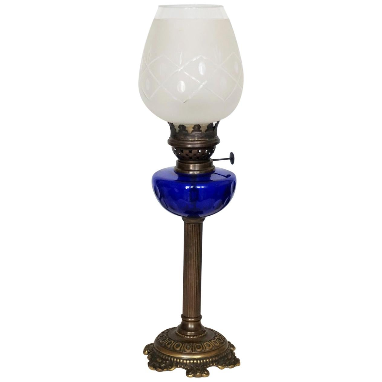 Victorian Bronze Cobalt Blue Glass Font Oil Lamp Converted to Electric