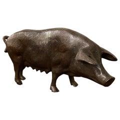 Late 19th Century Bronze Pig