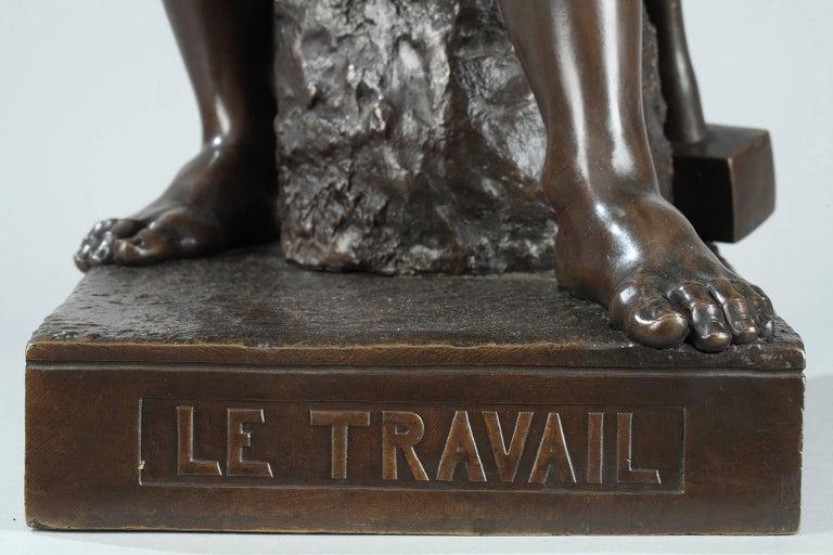 Late 19th Century Bronze Sculpture, Le Travail Signed Moreau 4