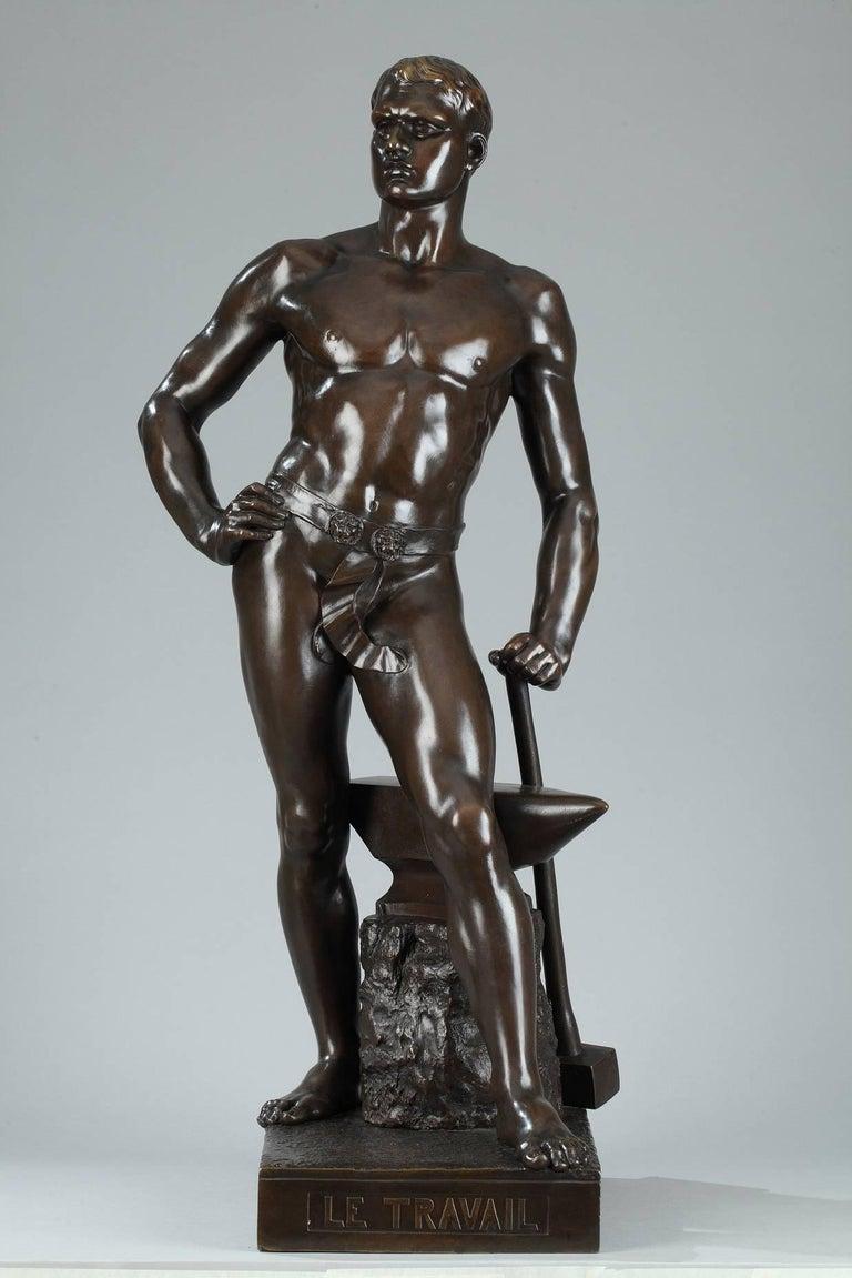 Napoleon III Late 19th Century Bronze Sculpture, Le Travail Signed Moreau