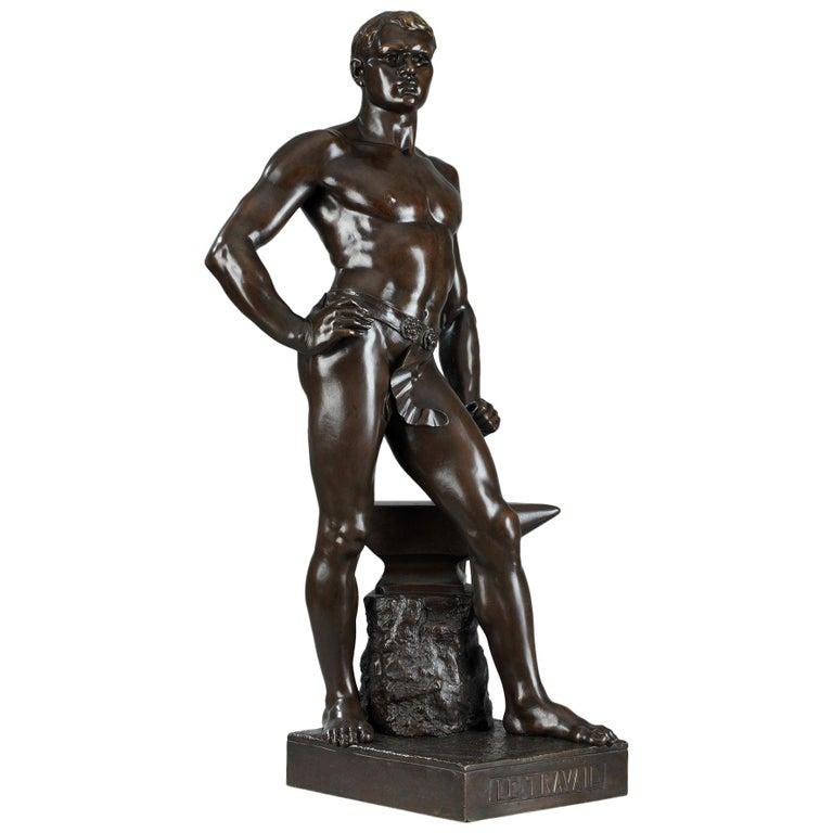 Late 19th Century Bronze Sculpture, Le Travail Signed Moreau