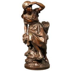 Late 19th Century Bronze Sculpture of a Woman Glancing by Mathurin Moreau