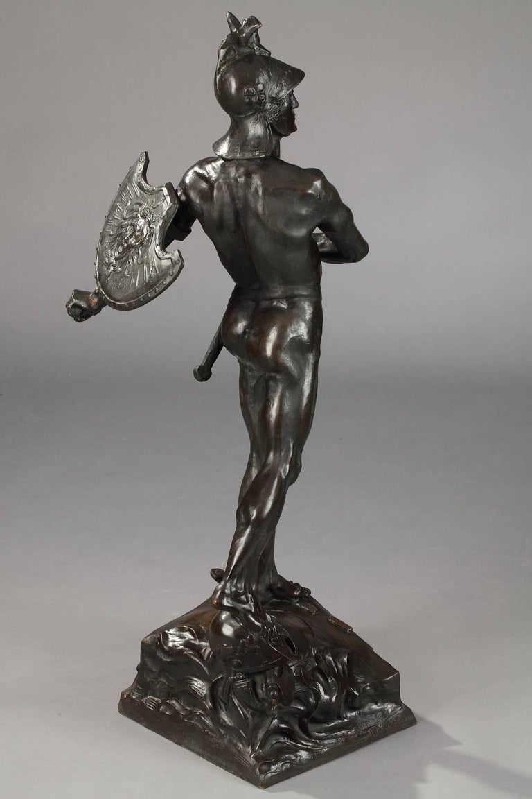 Late 19th Century Bronze Sculpture The Warrior by Auguste de Wever For Sale 1