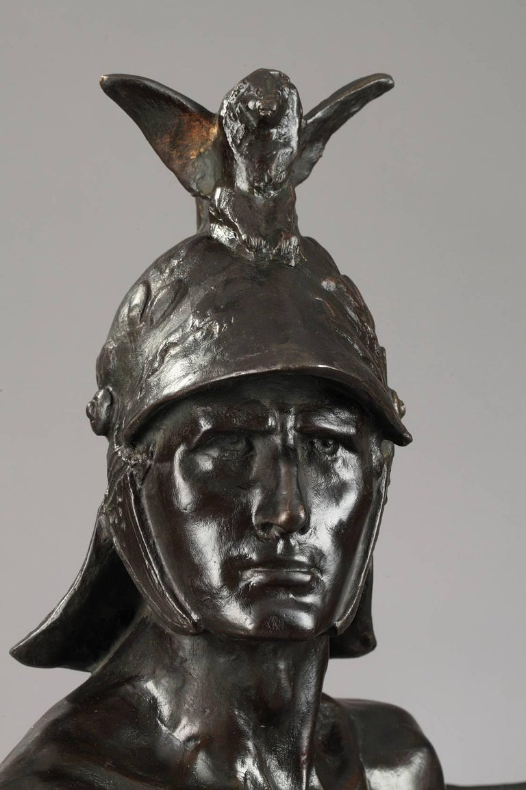 Late 19th Century Bronze Sculpture The Warrior by Auguste de Wever For Sale 2