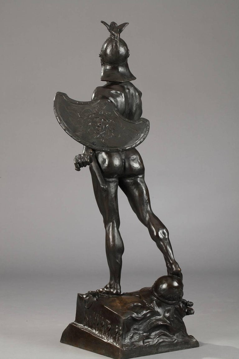 Late 19th Century Bronze Sculpture The Warrior by Auguste de Wever For Sale 3