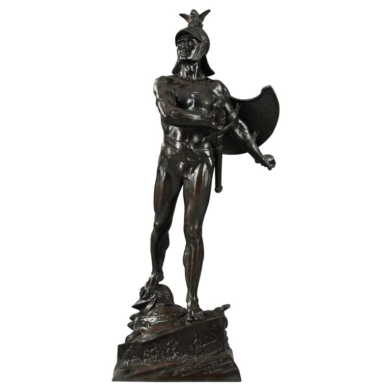 Late 19th Century Bronze Sculpture The Warrior by Auguste de Wever For Sale
